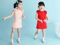 Wholesale Children shoulder take sundress Baby dress floral dress children rabbit splicing cartoon color matching flower girl dress children s skirt