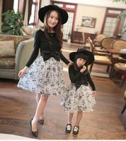 Wholesale Family Set Family Matching Outfits mother daughter dress summer mom and daughter dress clothing bow knot Kids Clothing