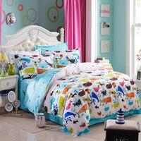 aquariums sizes - kids four piece bedlinen Cotton bedclothes twin full queen size aquarium ocean Fishes printed bedding set