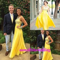 Cheap Yellow Prom Dresses Cheap 2016 Beaded Jewel Neck Sheer Chiffon Evening Party Gowns Custom Made Formal Occasion Wear Floor Length Bridesmaid