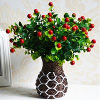 artificial fruit trees - Artificial Simulation Lucky Fruit Tree Real Touch Fake Green Tree Red Fruit Display Plants Wedding Party Significant Decorations