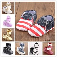 Wholesale 19 Colors Brand Spring American Flag Baby Shoes PU Leather Newborn Boys Girls Shoes First Walkers Baby Moccasins Months