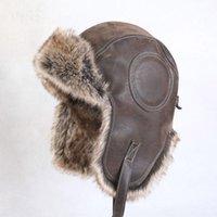 acrylic flyer holders - Hot Designer Warm Cap Trapper hats Heater Holder Flyer Style Bomber Hats Leather Earmuff Helmet Piece
