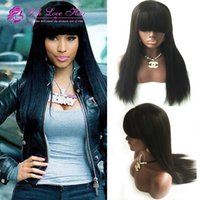 bank bundles - 9A Full Bundles Human Hair Full Lace Wigs With Full Bangs Brazilian Virgin Human Hair Lace Wig With Bleached Knots Baby Hair