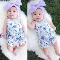 Wholesale INS Summer Child romper Baby Girls Cute Floral Romper Infant Boys Cotton Newborn Jumpsuits Clothing