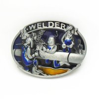 american welder - 2016 DISOM New decorator belt buckle Blue welder belt buckles American fashion men belt buckle zinc alloy rings suit for cm width belt