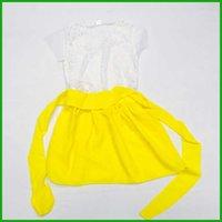Robes filles tutu jaune couches de la mode chaudes vente des enfants vestiods dentelle court manches princesse filles robe de princesse Livraison gratuite