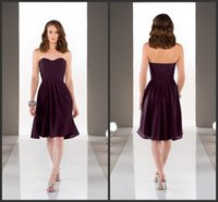 aubergine bridesmaids dresses - Chiffon A Line Bridesmaids Dresses Aubergine Sweetheart Formal Dress Pleated Lace Up Back Short Maid Of Honor Gowns Knee Length
