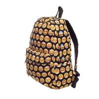 Wholesale uggage Bags Backpacks Emoji black D printing High Quality Women Canvas Backpacks Smiley School Bag For Teenagers Girls Shoulder Ba