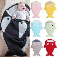 Wholesale 2016 Winter INS Hot Newborn Baby Sleeping Bag Cartoon Shark Kids Blanket Portable Cotton Swaddle Warm Toddlers Sleepsacks