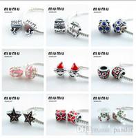 Wholesale Beads Mix Beads Silver Crystal Enamel Charm Beads Fits Pandora Style Charm Bracelets