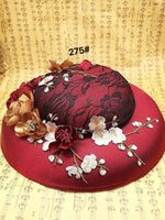 Wholesale Hot Beautiful Red Black Lace Wedding Hats With Flower Bride Cap Western Style Bridal Hats For Wedding Prom Evening Dresses