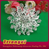 Wholesale Top Quality Manufacturer Silver Plating Diamante Rhinestone Metal Brooch Bouquet For Wedding Party Decoration