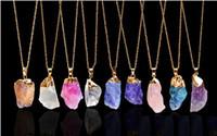 achat en gros de améthyste jade-Collier avec pendentif Kendra Scott cristal d'or de la pierre naturelle collier pendentif Clavicule pour les femmes Raw Améthyste Point de Jade Bijoux Cadeau de Noël