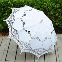 Wholesale 20Pcs Handmade Ivory White Black Pink Blue Wedding Parasols Umbrella For Bridal Party Decoration Embroidery Battenburg Wedding Parasol Favor