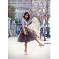 Wholesale 5 Layers cm Long Celebrity Tulle Skirts Custom Made Womens Midi Skirt Princess Adult Tutu Ball Gown Summer Style Faldas Saias