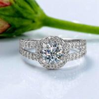 Anillos de bodas chispeantes grande de la promoción de lujo para las mujeres 925 plata de ley suiza 1.25ct CZ Anillo de compromiso ZRJ510