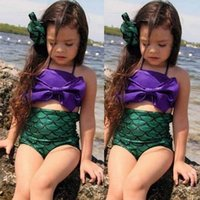 bath outlets - Children Mermaid Swimwear Pieces Set Baby Girls Big Bow Swimsuit Kids Bikini Bath Suit Beachwear With Bow Headband Outfit Set Outlet