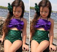 Wholesale 2016 Summer Cute Kids Swimsuits Girls Mermaid Swimwear Bikini Bow Tops High Waist Shorts Suit Baby Bathing Suit Beach Clothes