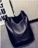abs designer - 2016 Designer Women Leather Handbags Black Bucket Shoulder Bags Ladies Cross Body Bags Large Capacity Ladies Shopping Bag Bolsa