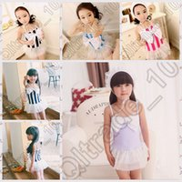 Wholesale 1000PCS MMA59 PrettyBaby Summer Fashion Striped Mesh Kids Swimwear One Piece With Swimming Cap Children Swimsuit Girls Bathing Suit Bow Knot