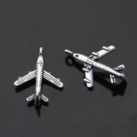 Wholesale 1500pcs DIY Retro Jewelry Accessories Antique Tibetan Silver Mini Aircraft Plane Charm Pendants x14mm