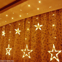 Wholesale 138LED Warm White Star Curtain String Light Fairy Lighting In Outdoor Decoration