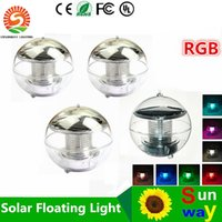 Wholesale Solar Powered Light Ip68 - 2016 New LED Solar power Floating Lights 1W RGB color changing IP68 waterproof solar outdoor lights garden pool langscape lamp