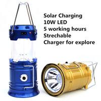 Wholesale Solar Lanterns Lighting w LED Camping LanternTent Light Outdoor Lighting Portable Hanging Lamp Hiking Fishing Portable Lantern