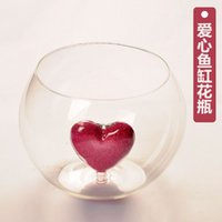 Beautiful Love Rustic Transparent Glass Fish Tank With Red Love Home Decor Glass Vase Hydroponic Wedding Decoration