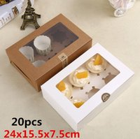 Wholesale 24x15 x7 cm High quality clear plastic window kraft paper boxes Six holes packaging cupcake Muffin egg tart gaine