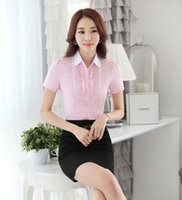 Wholesale Summer Formal Women Business Suits Two Piece Skirt and Top Sets Blouses amp Shirts White Office Ladies Work Wear Suits OL Styles