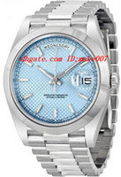 ice watches - Factory Supplier Luxury Watches DayDate Ice Blue Diagonal Motif Dial Platinum President mm Automatic Men s Watch IBLSP Mens Watch Wrist