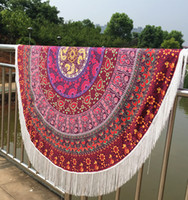 Wholesale Indian Mandala Tapestry Boho polyester Round Beach Throw Towels with Long Tassel Yoga Mat Wall Hanging Large Shawls Throw Blanket BKT095