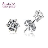 Wholesale Fashion Women amp Men Jewelry Size Choice Small Round Shape Cut AAA Cubic Zirconia Diamond Stud Earrings