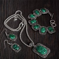 antique olive black - 1 Set Retro Antique Silver Emerald Jewelry Sets for Women Square Pendant Necklace Turquoise Bracelet Earrings Set