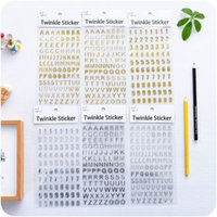 Wholesale 6 Twinkle sticker Gold Silver number Handwriting alphabet stickers for album diary scrapbooking DIY Stationery
