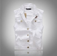 Wholesale 2016 New Jeans Vest for Man Spring Autumn Fashion Slim Man s Denim Vest Single Breasted Sleeveless Jeans Jacket White Vests