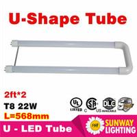 Cheap led tubes light 2ft U shaped T8 LED Tube 18W 20W 22W SMD2835 chip Light Lamp Bulb 2ft*2 AC85-265V UL DLC CE ROHS