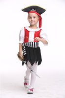 Wholesale 2016 New Kids Pirates Cosplay Halloween Costumes Children s Dance Dress With Hat Stage Performance Clothing Hot Selling