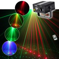 Wholesale NEW SUNY Red Green Laser Gobos Effect Blue LED Professional Projector Sound Active Remote Controlled Stage Light for DJ Disco Home Show