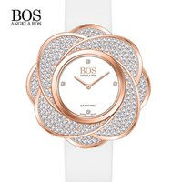 accent bands - Angela Bos Women s Swarovski Crystal Accented Gold Tone Moving Case Stainless Steel Swiss Quartz Watch W Leather Band can OEM