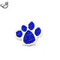 Wholesale Newest blue crystal rhinestone dog cat paw print Snap button charms Interchangable mm Bracelets Jewelry Snap Accessory MIJ102