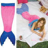 Wholesale 2016 Mermaid Tail Blanket Warm Soft Fleece Wrap Sleeping Bag Cartoon Blanket Bed For Kids Free DHL