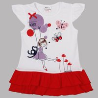 Wholesale Hot sale Brand New Girl s short sleeve dress cotton white and red drop shipping
