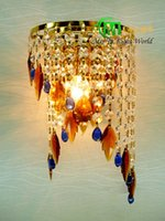 art deco buckles - modern Buckle titanium plate golden crystal wall light k9 crystal ofhead sconce lights