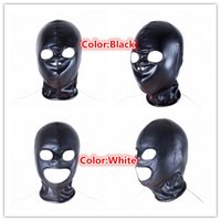 Wholesale Sex Games For Sale - New Open Eye Bondage Soft pu Leather Mask Sex Cosplay Game Blindfold Sexy Head Hood for Couple Adult Party Product SM Tool Sale