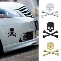Wholesale 3D Skull Metal Skeleton Crossbones Car Motorcycle Sticker Label Skull Emblem Badge Car Styling Stickers Accessories decal