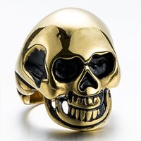 Wholesale Lucky Stainless Steel Ring - Top Quality Titanium Steel Rings Finger Gold Skull Punk Style 316L Stainless Steel For Men Lucky Ring Party Birthday Jewelry