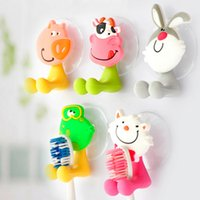 Wholesale Toothpaste Dispenser pc Very Cute Cartoon Sucker Toothbrush Holder Suction Hooks Household Items Bathroom